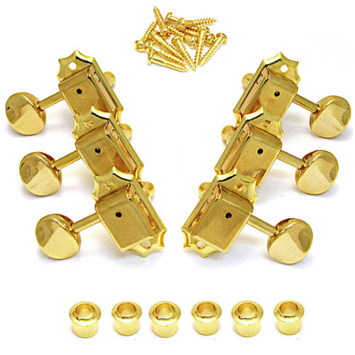 Gotoh SD90 Vintage Kluson Style 3x3 Tuning Keys w/ Oval Buttons-Gold