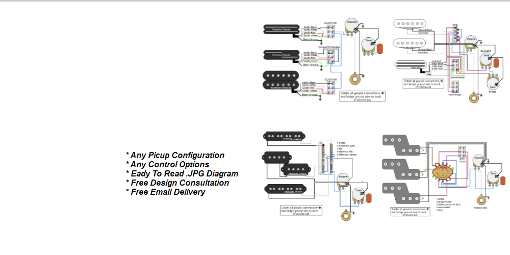 wiring control for guitars guitar electronics parts   wiring diagrams guitarelectronics com  electronics parts   wiring diagrams