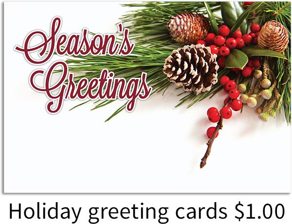 Seasons Greetings holiday cards $1.00