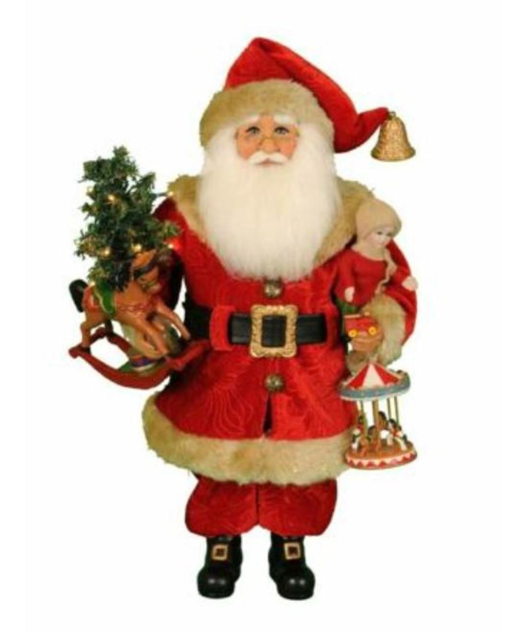 Lighted Carousel Dreams Santa 45cm