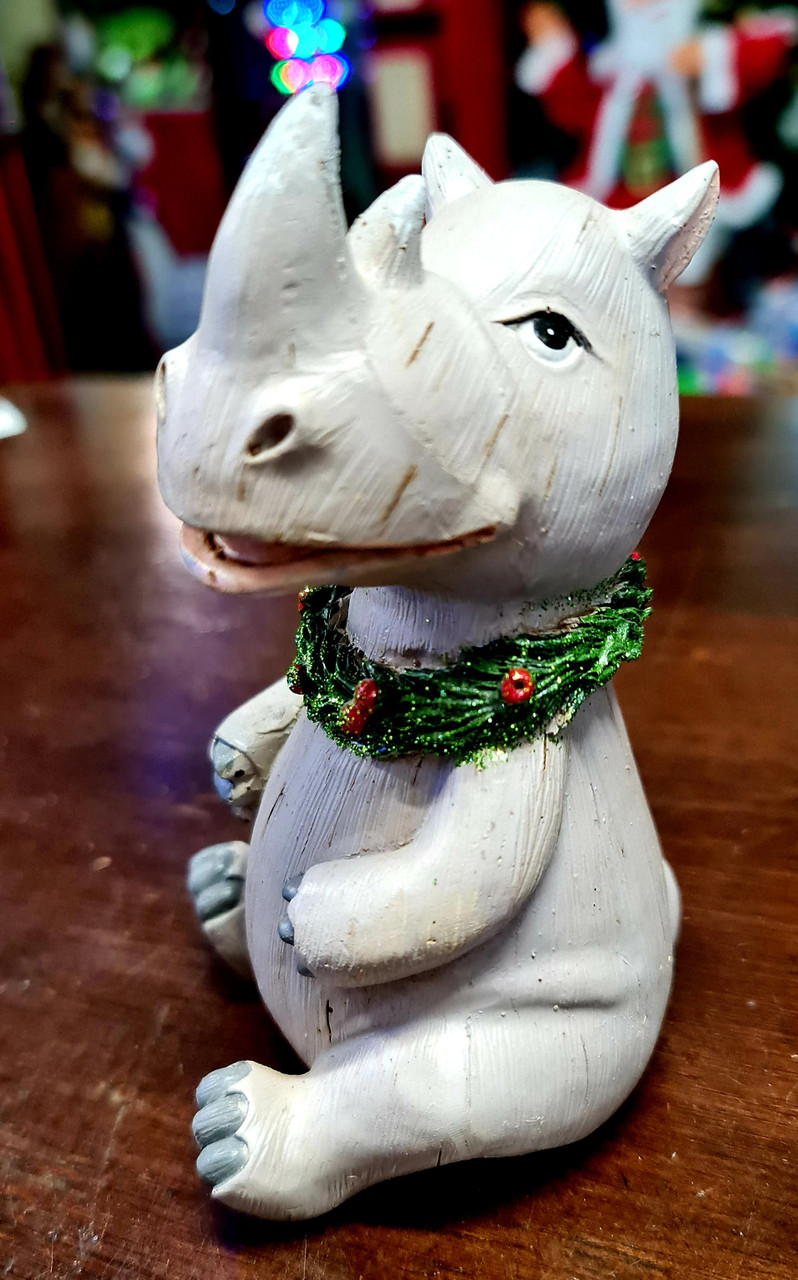 Safari Christmas Figurine - Rhino 13cm