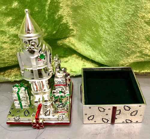 Silverplated Collectible Santa Trinket Box