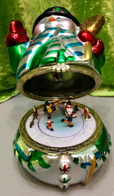 Flip-top Wind-up Ceramic Snowman Music Box w Rotating Snow Scene