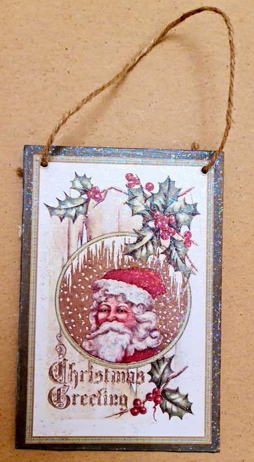 Wooden Postcard Santa Hanger