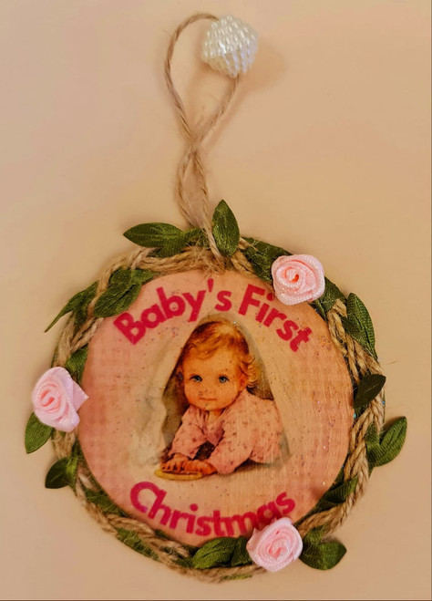 Wooden Baby's First Christmas Hanger