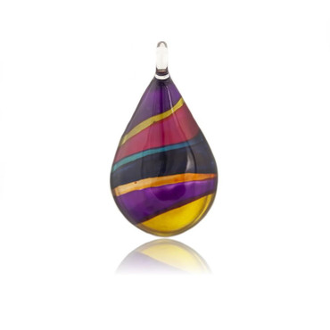 Hand-made glass pendant individually painted.