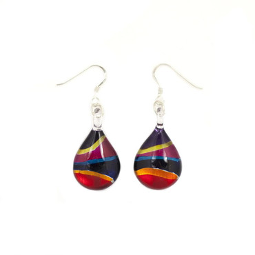 Hand-made glass earrings individually painted. With sterling sliver hooks.