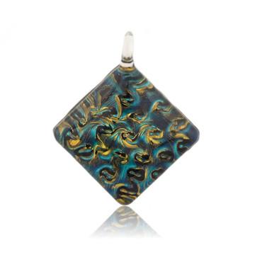 Blue Glass Diamond Pendant Necklace