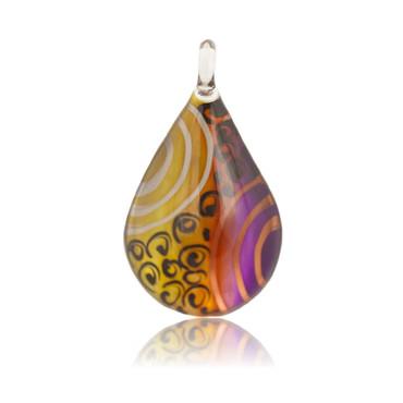 Multi-colour Glass Teardrop Pendant Necklace 2