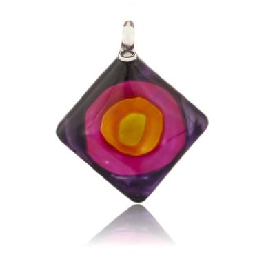 Purple Glass Diamond Swirl Pendant Necklace