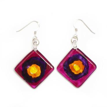 Purple Glass Diamond Drop Earrings