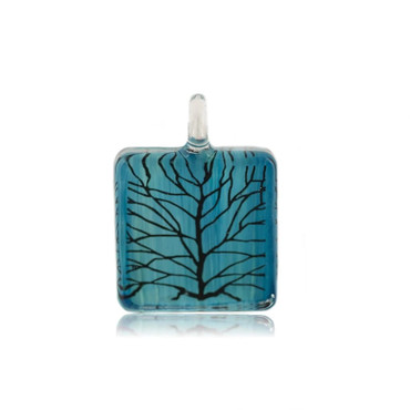Blue Glass Square Branch Pendant Necklace