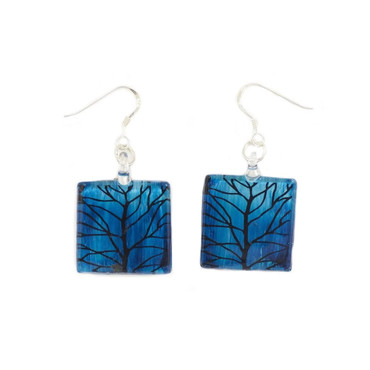 Blue Glass Square Branch Drop Earrings
