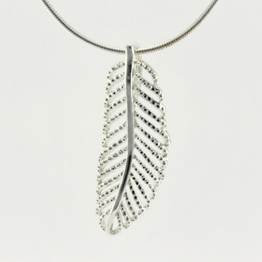 Sterling Silver Palm Leaf Pendant Necklace