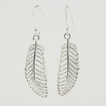 Sterling Silver Palm Leaf Earrings