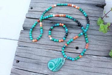 Stone Beads, Azurite, Orange Onyx and Green Onyx Pendant & Bracelet