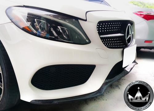 Mercedes-Benz W205 C-Class (AMG Package) V1 Style Carbon Fiber Front Lip