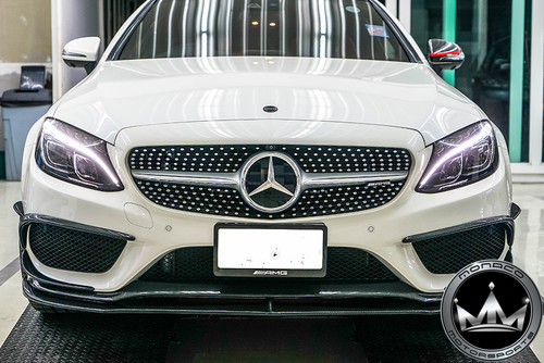 Mercedes-Benz W205 C-Class (AMG Package) V2 Style Carbon Fiber Front Lip