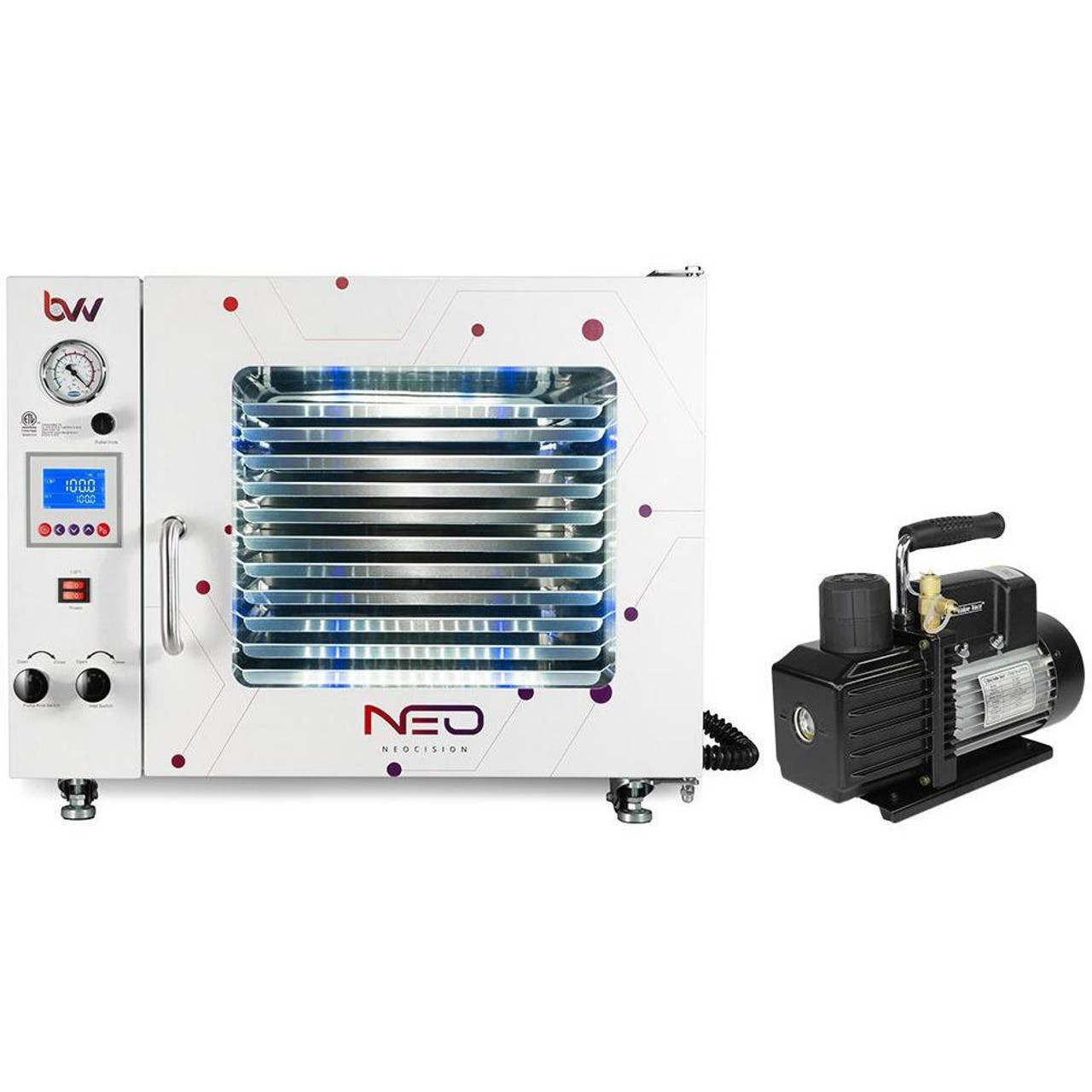 1.9CF BVV Neocision Certified Lab Vacuum Oven - 5 Wall Heating, LED Display, 11 Shelves Standard