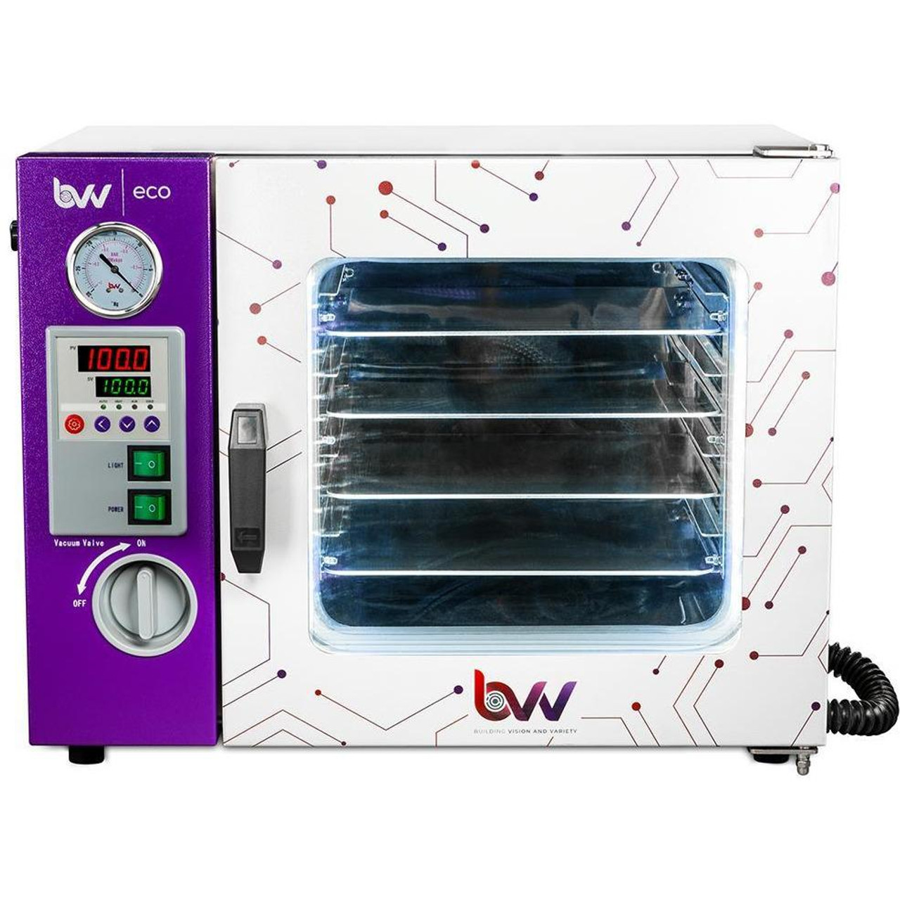 0.9CF ECO Vacuum Oven - 4 Wall Heating, LED display, LED's - 4 Shelves Standard