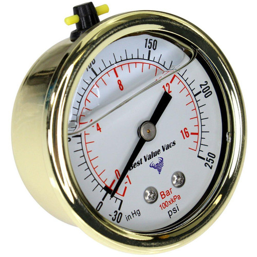 "Gold Glycerin Filled Compound Gauge W/ 1/4"" MNPT"