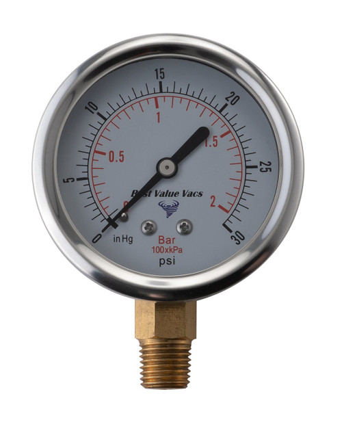 Oil Filled Vacuum/Pressure Gauge - Bottom Mount
