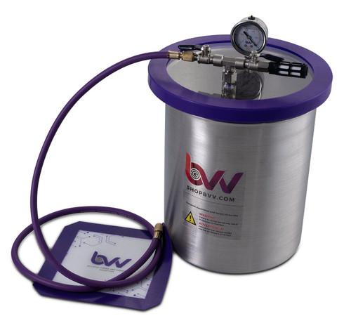 "Mini Lab Pack 4 - 3 Gallon Stainless Steel Vacuum Chamber;  3CFM VE115 Pump; 9"" Heat Pad"