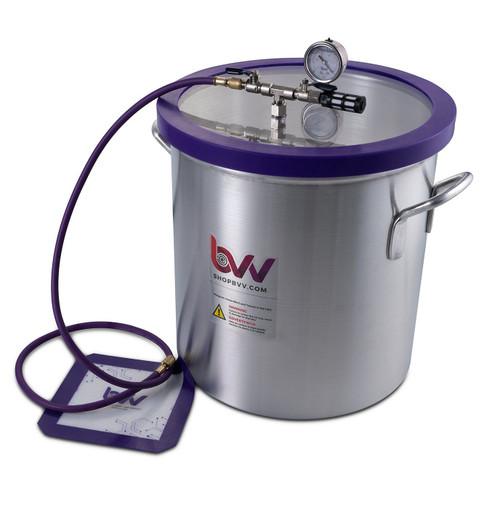 "Mini Lab Pack 7 - 15 Gallon Aluminum Vacuum Chamber;  VE Series Vacuum Pump ; 16"" Heat Pad"