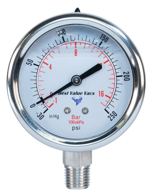 "Glycerin Filled Compound Gauge -  1/4"" MNPT"