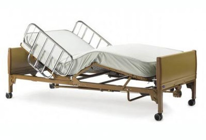 The 5410IVC bed shown with Side Rails in chrome (ProBasics rail options are Brown Vein finish). Mattress package options are also available.