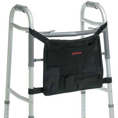 The Guardian Front Carrying Pouch Organizer is a welcome transporting assistant for anyone using a walker or rollator.