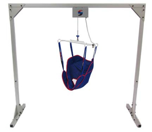 Traxx Mobility's Titan 500 is a Freestanding Overhead Patient Track Lift made of strong, durable aluminum. The Titan 500 is a fantastic alternative to ceiling mounted track lifts. Traxx Mobility's innovative four point lift bar securely lifts and transfers patients along a track rail.