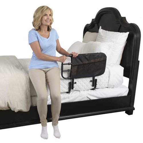 The Stander EZ Adjust Bed Rail 8000 is expandable width and features convenient storage pockets.