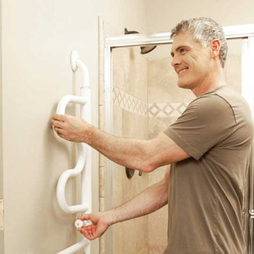 The Stander Curve Grab Bar 9000 is a space-saving support rail that folds back against the wall. Pivoted out into position, the Curve Grab Bar allows the user to easily rise from a sitting position by providing 4 hand grips at 4 different heights.