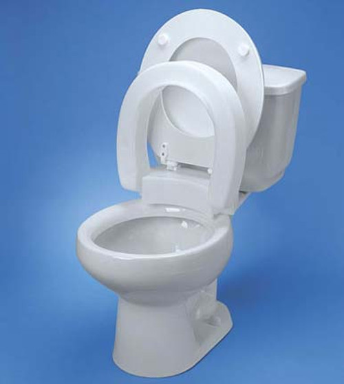 "Maddak Tall-ette Hinged Elevated Toilet Seat for Elongated Commodes - 3"" H, 350 lbs Capacity"