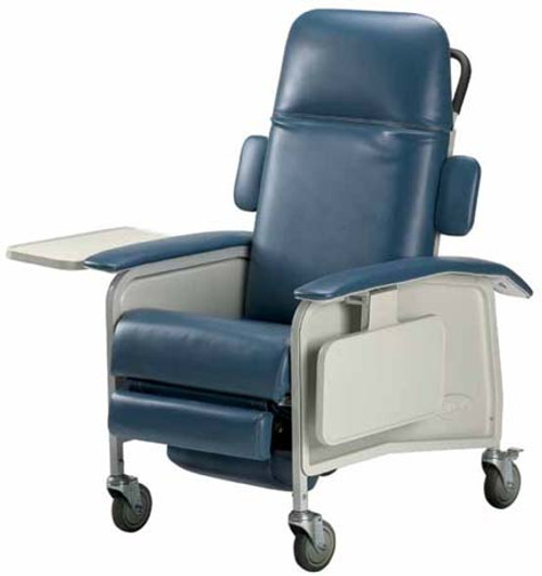 The Invacare Clinical 3-Postion Recliner IH6077A is an incredibly comfortable and versatile for use as a Dialysis Chair, Infusion Chair, or in Patient Room, Same-day Surgery, Long-Term Care and Oncology environments. Shown in Blueridge.
