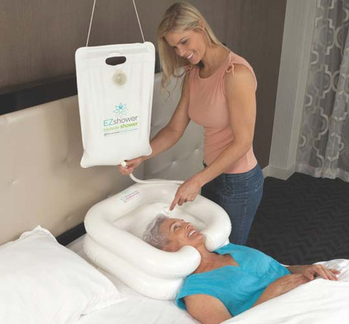 The EZ-Shower Inflatable Bedside Shower fills the need for safety, comfort and ease for in-bed shampoos. Capacity of 2.5 gallons. Shampoo Basin HNB1005 (shown) sold separately.