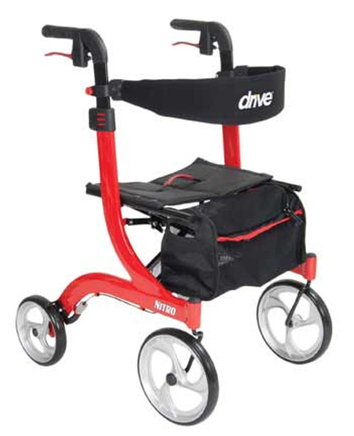 "The Drive Medical Nitro Rollator 10266 offers a sporty and stylish look in a lightweight package. This sturdy, and ultra easy and convenient to use rollator features adjustable height handles with the convenience of a push-button, a tool-free adjustable padded back support, caster fork design to enhance turning radius, large 10"" front casters that provide optimal steering and rolling comfort, and much more. (shown in Red RTL10266)"