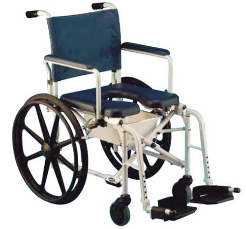 "The Invacare Mariner Rehab Shower Commode Chair 6895 with 18"" seat offers an aluminum frame and stainless steel hardware that are rust-resistant, making the Mariner ideal for use in the shower."