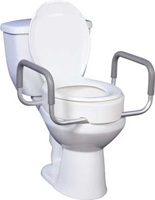 "The Premium Raised Toilet Seat includes removable arms and offers a 3.5"" rise for existing commodes. Model 12402 is made for standard commode types."