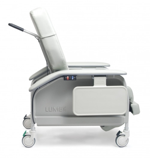 "The Lumex Deluxe Clinical Care Bariatric Recliner FR587W series has been designed specifically for the larger resident/patient. The extra-wide seat width of 24"" and greater weight bearing capacity enables the recliner to comfortably sit and position patients up to 450 pounds."