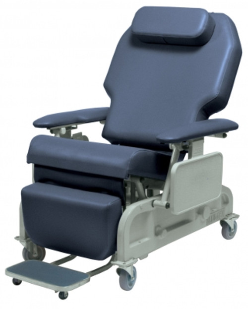 The Lumex Bariatric Powered Recliner FR588W features a four-function wired Hand Pendant activates the motor that allows caregivers to safely recline and raise patients without strain. Comes fully equipped with a Rechargeable Battery Pack for full operation away from wall outlets. (shown in Blue Ridge)