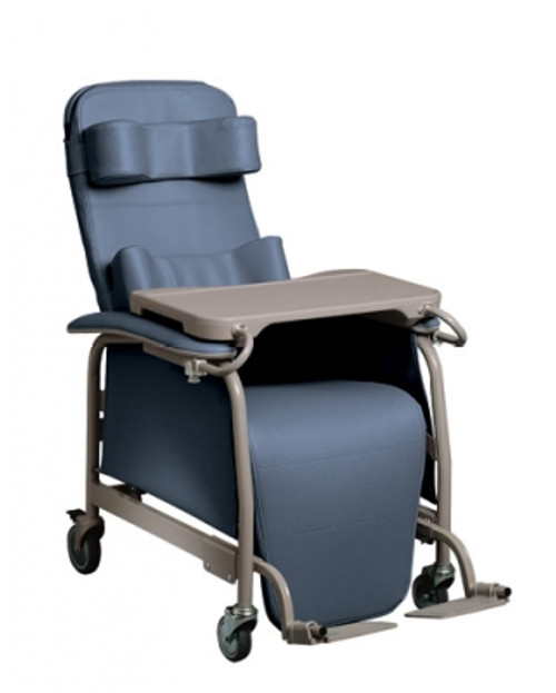 Lumex Preferred Care Infinite Position Recliner 565G shown with Optional Adjustable Footrests (item# LX5640G) and Lumex Body Bolster (item# FR56471X) and Head Bolster (item# FR56461X) sold separately in coordinated colors.