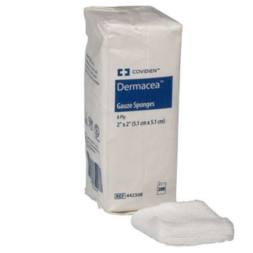 """Dermacea 8-Ply Non-Sterile Gauze Sponges are available in 2"""" x 2"""", 3"""" x 3"""" and 4"""" x 4"""" sizes."""