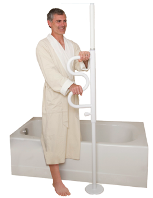 """The Stander Security Pole & Curve Grab Bar is a tension mounted, floor to ceiling pole that helps users rise from a sitting position. Pivoting curve grab bar rotates 360-degress and is shaped like a sideways """"W"""" provides four hand grips at four different heights, and locks in place every 45 degrees."""
