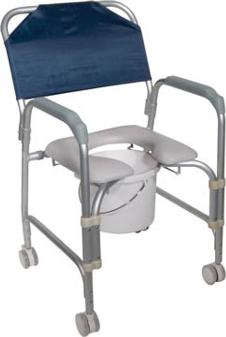 Drive Aluminum Shower Chair and Commode 11114KD-1 with Casters