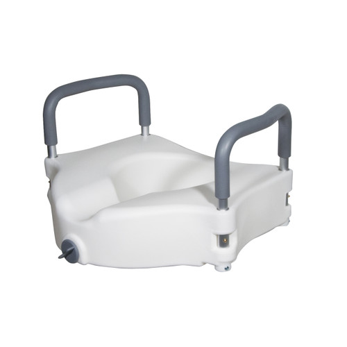 Elevated Raised Standard Toilet Seat w/ Removable Padded Arms - 5 Inch, 300 Lbs. Capacity