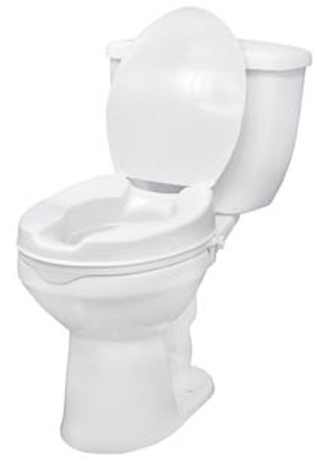 "Raised Standard Toilet Seat with Lock & Lid - 4"" Height, 400 lbs Capacity"