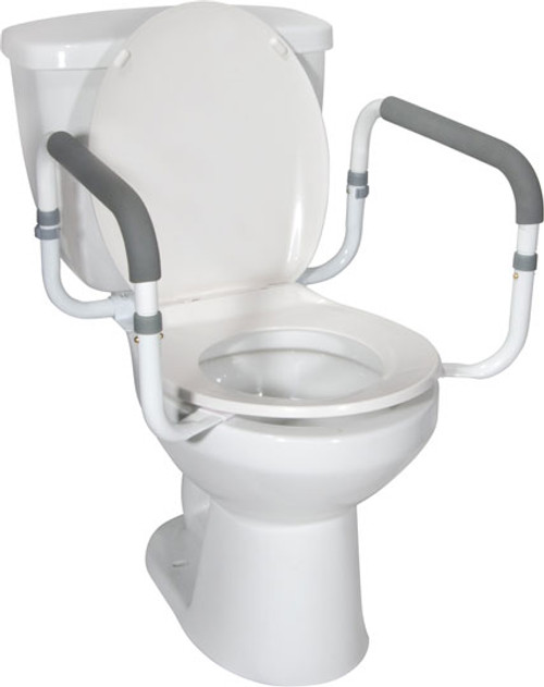 The Drive Aluminum Toilet Safety Rail RTL12087 is a safe and easily added/removed assistant to any commode style.