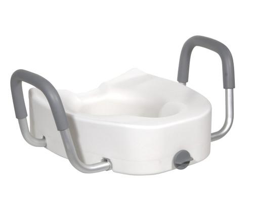 Premium Plastic Raised Toilet Seat w/ Lock & Padded Armrests, Elongated - 5 Inch, 300 Lbs. Capacity